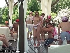 Sexy gangbang party with teens dp anal