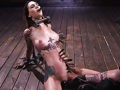 bdsm, babe, torture, vibrator, brunette, tattooed, clothespins, metal bondage, device bondage, kink, rocky emerson