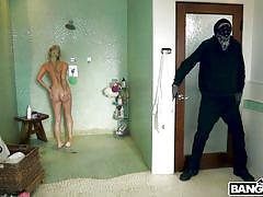 blonde, handjob, babe, huge cock, thief, robber, masked, shower sex, bangbros 18, bangbros, vlad, khloe kapri