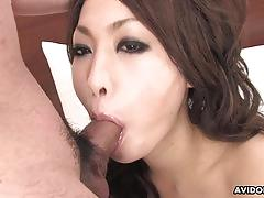 Japanese brunette sucks dick and gets pounded