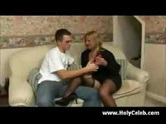 Big blonde mature gets a lesson