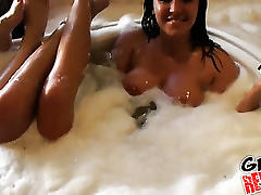 Hot college girls party in a hot tub