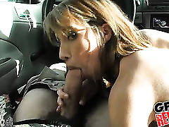 Hot college rich bitch sucks off her driver