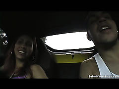 Hot slut wanks her looser friend in his car