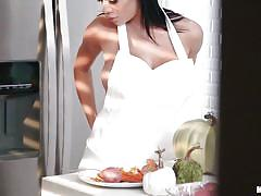 Victoria gets caught naked in the kitchen