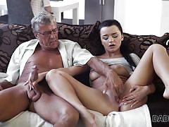 handjob, babe, old man, big cock, blowjob, fingering, brunette, pussy rubbing, daddy4k