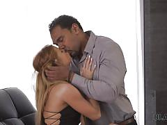 Black hunk eats out a hot white babe