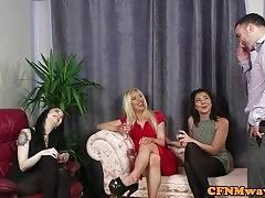 Cfnm femdom sucking and deepthroating frolics