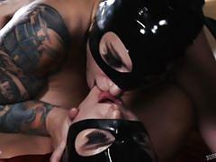 Four horny lesbians in seductive bunny masks