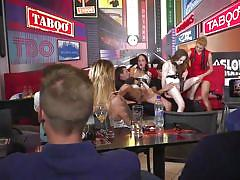 Horny babes were fucked in the crowded bar