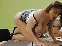 How far this busty babe can go to get money?