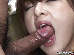 Bushy asian babe bound and double fucked hard