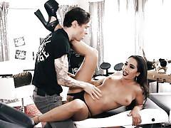 massage, big tits, babe, pussy licking, brunette, tattooed, hairy pussy, burning angel, owen gray, karlee grey