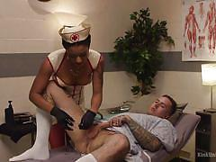 Ebony nurse taking good care of his butt hole