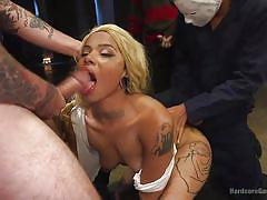 Gorgeous jessica greedly swallows mouthful of cum