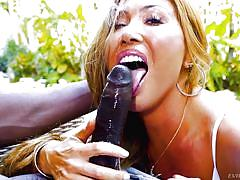 Busty asian milf chokes on a huge black cock