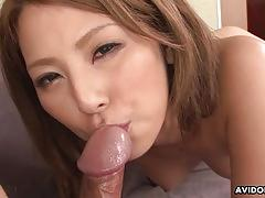 Asian bouncing on hard cock