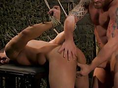 Big thick dom interrogates sub with his dick