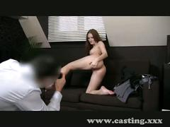Casting auburn beauty gives amazing handjob