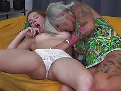 Slutty tattooed milf seduced a new inexperienced victim