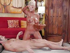 milf, blonde, handjob, massage, big tits, latina, oiled, shower, nuru massage, nuru network, donnie rock, bridgette b