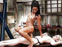 Hot lesbian anal strap on training