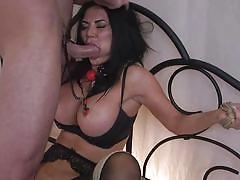 milf, big tits, big cock, deepthroat, stockings, vibrator, face fuck, brunette, ball gag, nipple clamps, rope bondage, sex and submission, kink, charles dera, jasmine jae