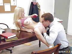 Slutty teen sucked headmaster's dick