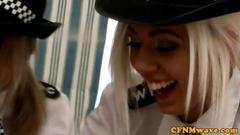 Femdom voyeurs in uniform tugging on a  cock