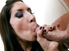 Hot latina with big tits enjoying rough fucking session
