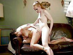 Horny brunette trapped and seduced by skinny shemale