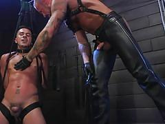 ass fingering, bdsm, whipping, rope bondage, big cock, fetish, muscular, suspended, punishment, tattooed, bound gods, kink men, michael roman, cesar xes