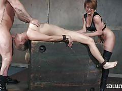 milf, blonde, threesome, bdsm, deepthroat, domination, vibrator, big breasts, device bondage, sexually broken, angel allwood, sergeant miles, dee williams