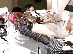 Beautiful feminine ladyboy in stockings jerks her girl shaft