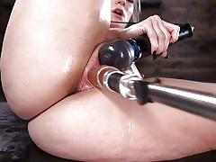 Blonde beauty fucked by machines