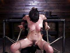 bdsm, big tits, babe, vibrator, blindfolded, hairy pussy, tits torture, ball gag, clothespins, rope bondage, hogtied, kink, olive glass