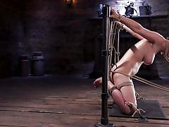 Olive glass suffers in rope bondage