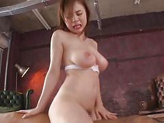 Busty asian babe with a hairy pussy gets fucked hard