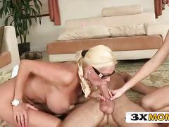 blonde, blowjob, doggystyle, skinny, shaved, white, mature, threesome, glasses, bigtits, pussy-licking, ffm, 3way, straight, piercings, 2girlbj