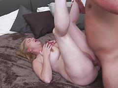 Long-haired busty mature gets fucked hard