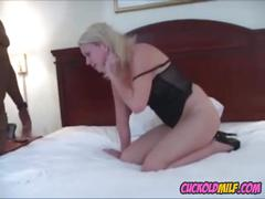 Cuckold milf in stockings jizzed by bbc bull