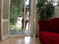 Teen cutie finds her neighbour watching porn and sucks his dick