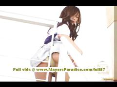 Miyu hoshino chinese girl in school uniform rubs her...
