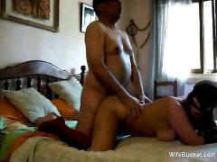 Older guy fucks and creams his wife