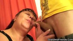 Fat mature fucked by two guys