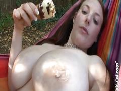 Angela white cute busty australian eats an ice cream