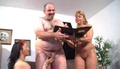 Wife and her mom slurp on hubby's bear dick