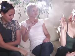 Agnieszka (blonde), denise (asian french) and esmeralda (brunette) smoking