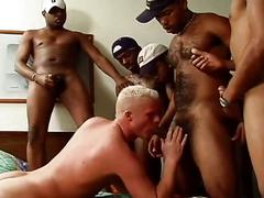 Super hot five monster black cocks versus one horny white whore