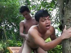 Twinky asian fuckers outdoors